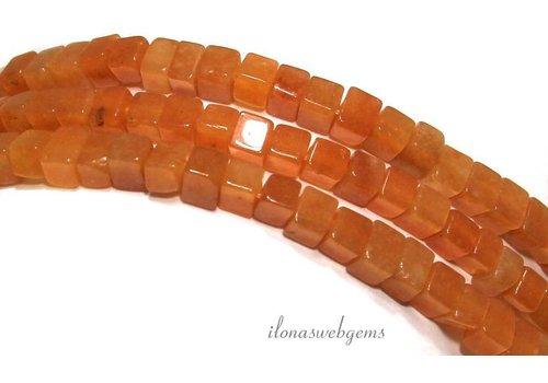 Oranje Aventurijn kralen kubus ca. 4.5mm