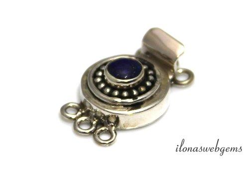 Sterling zilveren bakslotje met Lapis lazuli ca. 26x16x8mm