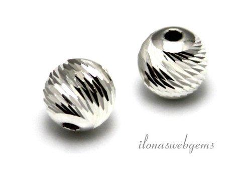 Sterling zilveren kraal bewerkt ca. 10mm