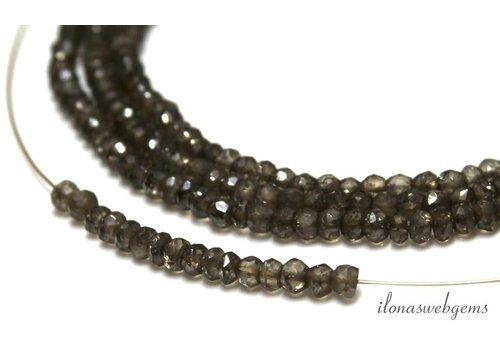 1cm Smoky Quartz beads facet roundel ca. 4x2.5mm
