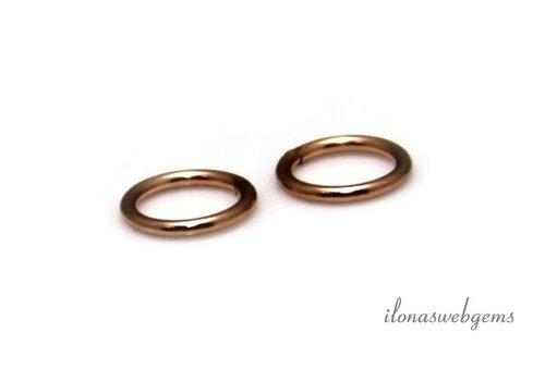 6 stuks Rosé 14k/20 Gold filled oogje gesloten ca. 4x0.6mm
