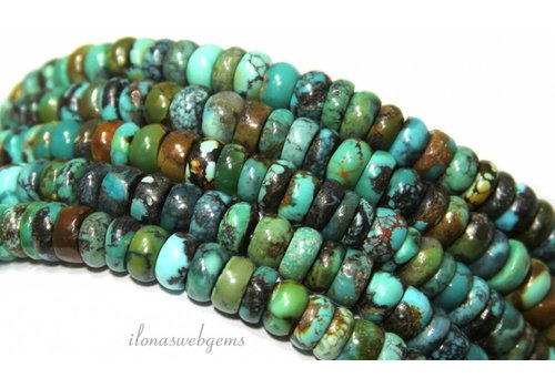 Türkisfarbenen Perlen Rondelle ca.7.5x4mm