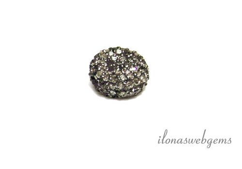 Sterling silver bead with diamond approx. 10x5mm