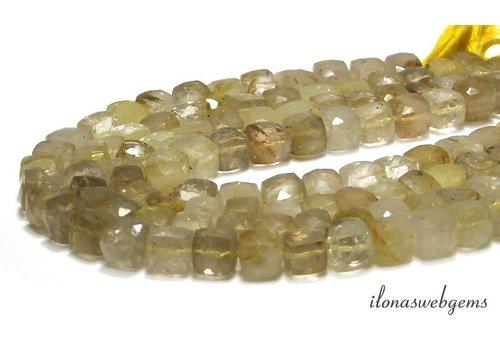 Rutilated quartz bead facet cube approx. 8x8x8mm