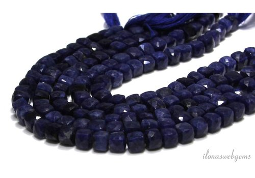 Sodalite beads facet cube