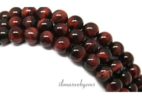Tiger eye beads red around 8mm