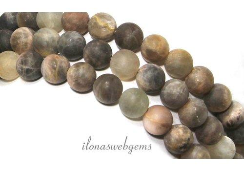 Schwarz sunstone Perlen rund um 8mm gefrostet