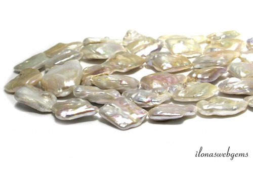 Square Pearls / Freshwater pearls approx. 30x26mm