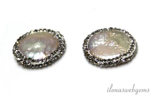 1 Paar Münzen Perlen mit Zirkonia 20mm
