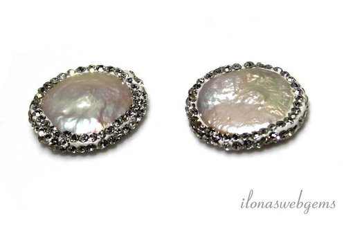 1 pair Coin pearls with Cubic Zirconia around 20mm