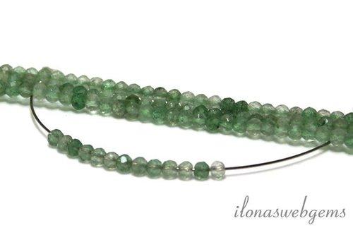 1 cm Groene aardbeien kwarts / green strawberry quartz facet rond ca. 3mm AA kwaliteit
