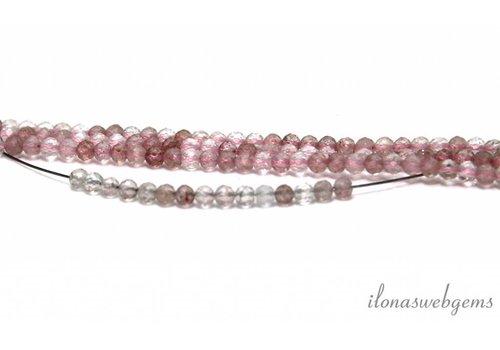 Aardbeien kwarts / strawberry quartz facet rond ca. 3mm AA kwaliteit