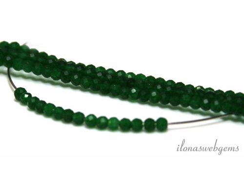 Groene jade kralen facet rond ca. 3mm AA kwaliteit