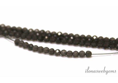 Grau Mondstein Perlen rund Facette etwa 3 mm AA Qualität