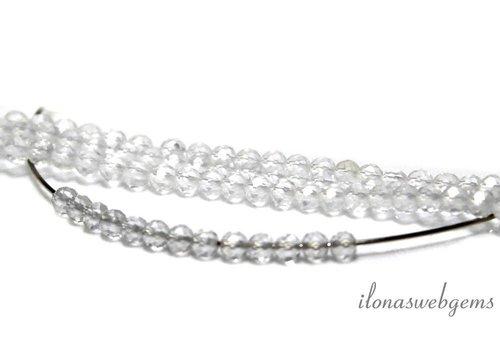 1 cm Bergkristal kralen facet rond ca. 3mm AA kwaliteit