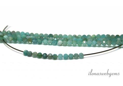 Amazonite facettierte Perlen um etwa 3 mm AA Qualität