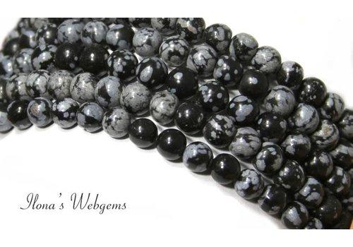 Snowflake Obsidiaan kralen rond ca. 12mm