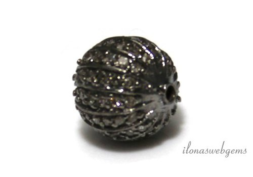 Sterling silver bead with Diamond around 10mm