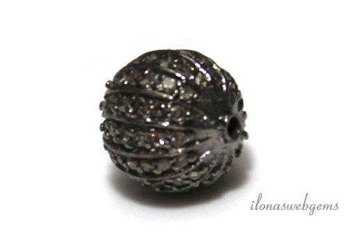Sterling zilveren kraal met Diamant ca. 10mm