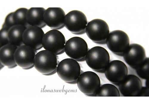 Onyx Perlen bereift etwa 6 mm