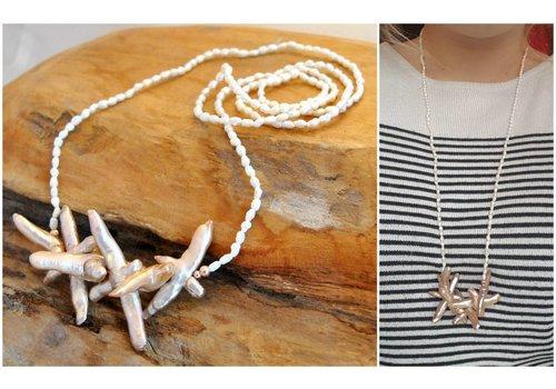 Inspiration: Halskette mit Reisperlen und Kreuzperlen