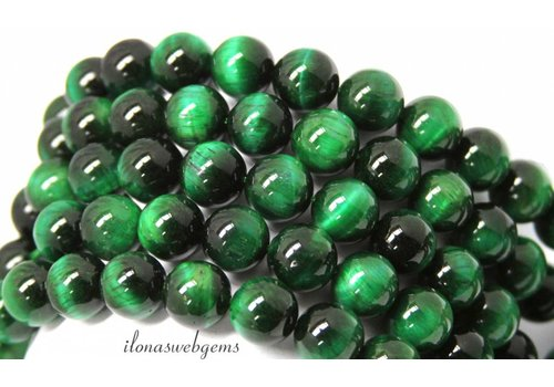 Green Tiger eye beads around 14mm A quality