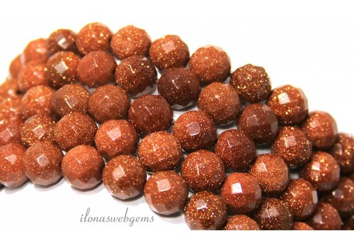 Goldstone beads gold large facet about 10mm