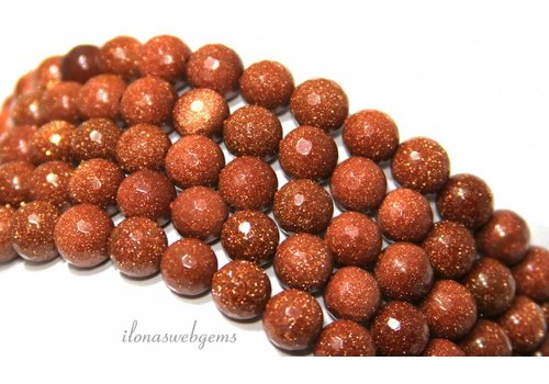 Goldstone-Perlen Gold kleine Facette etwa 8 mm