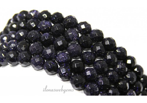 Goldstone beads blue large facet about 6mm