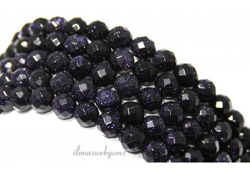 Goldstone-Perlen blau große Facette etwa 6 mm