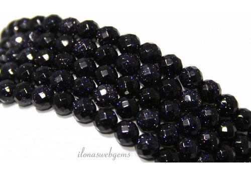 Goldstone-Perlen großen blauen facettierten 4mm