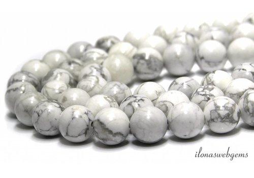 Howlith Perlen weiß (glänzend) um ca. 12 mm