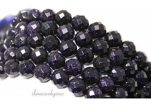 Goldstone beads blue large facet about 8mm