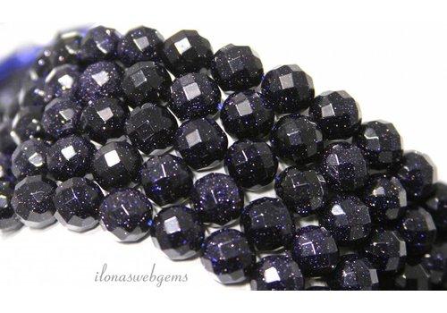 Goldstone-Perlen blau große Facette etwa 8 mm