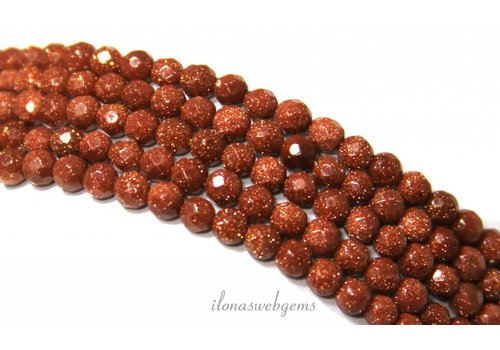 Gold stone beads gold large facet about 4mm