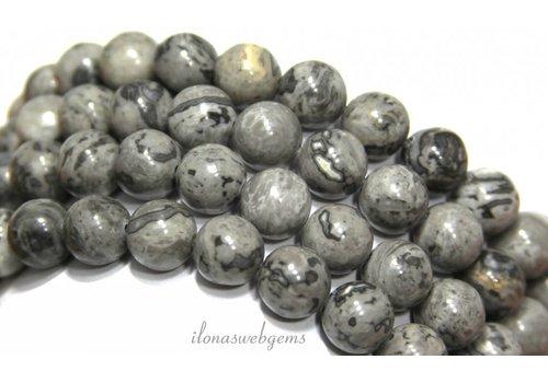 Jaspis kralen rond grijs ca. 12mm