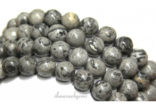 Jasper beads round gray about 10mm