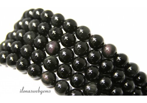 Obsidiaan kralen rond ca. 8mm