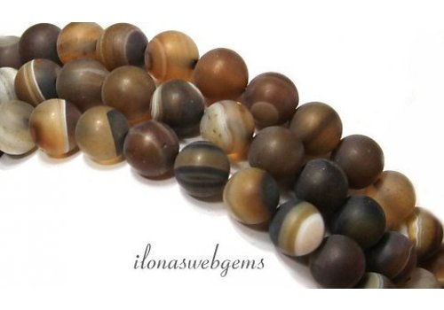 Brown stripe agate beads mat approx. 8mm