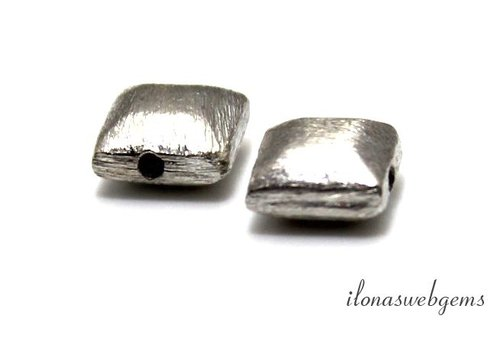 Sterling zilveren kraal brushed 8x8.5mm