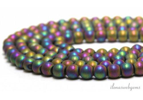 Hematite beads pink peacock ca. 8mm