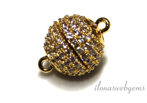 DQ magnetic lock gold color with cubic zirconia approx. 12mm