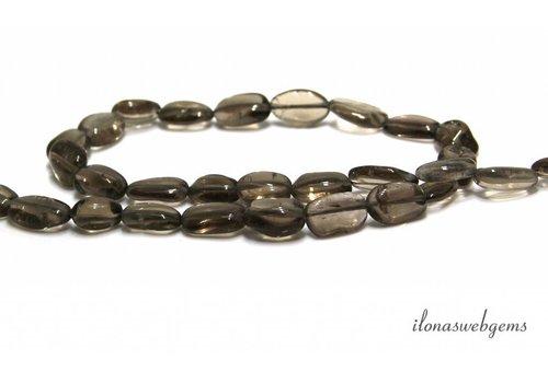 Smoky quartz beads oval around 9x6mm