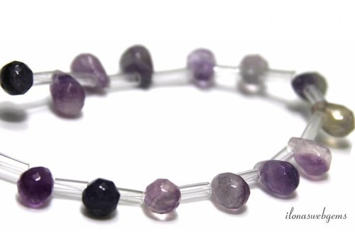 Fluorite faceted drops about 9x7mm