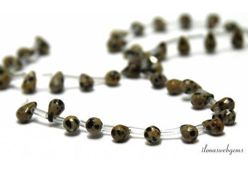 Dalmatier Jaspis druppeltjes ca. 9x6mm