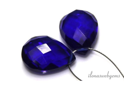 1 paar London Blue Quartz facet druppels ca.14x10mm