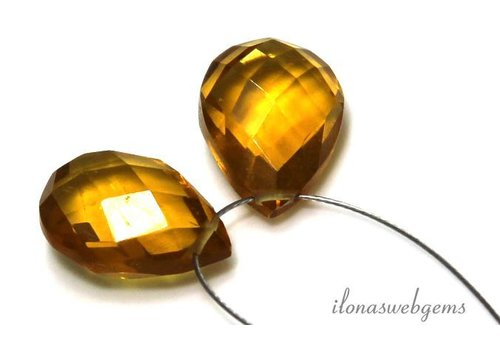 1 paar Citrien quartz druppels facet ca. 14x10mm