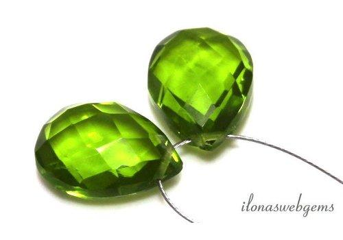 1 pair Peridot quartz drop facet about 13.5x10mm