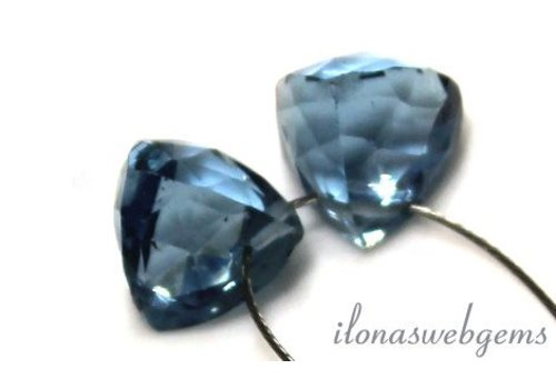 1 paar London Blue Quartz facet druppel ca. 8.5x8mm