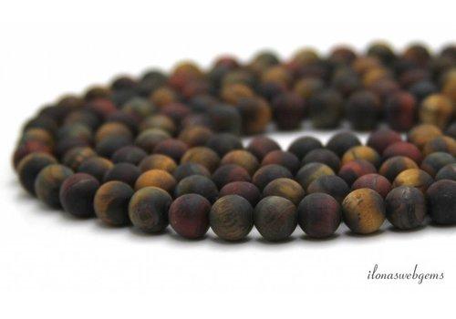 Tijgeroog kralen mix mat rond ca. 8mm